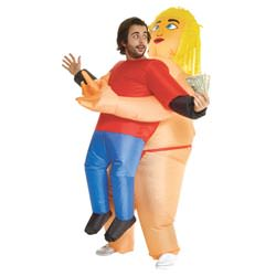 Inflatable fat stripper pick me up costume.