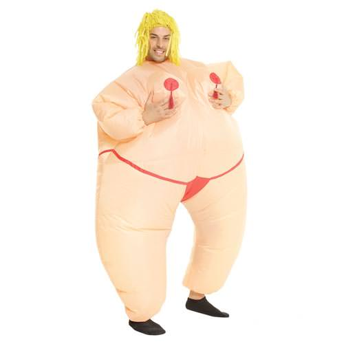 Inflatable fat stripper costume.