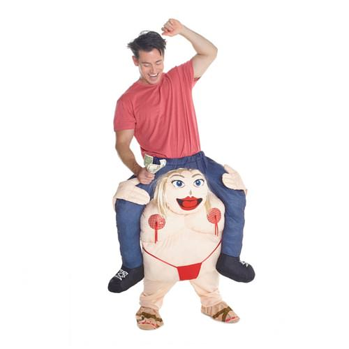 Someone wearing the piggyback costume.