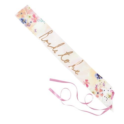 Flower design bride to be sash.