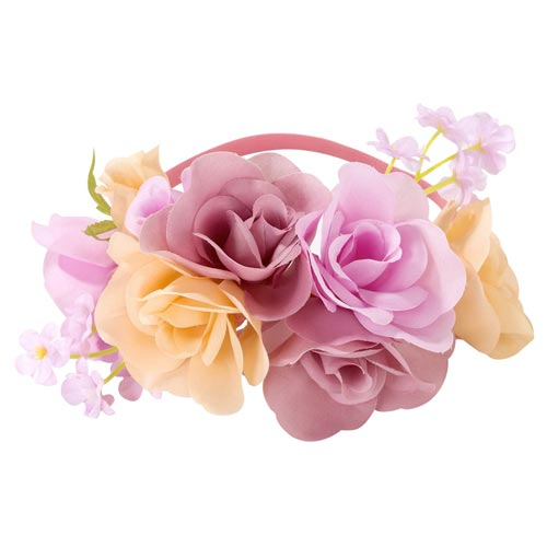 The floral headband against a white background.