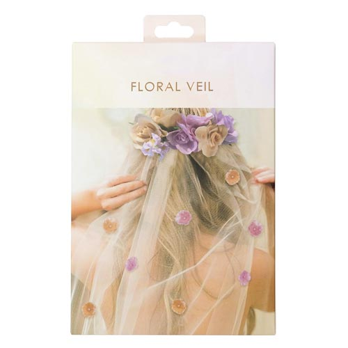 The floral veil in its box.
