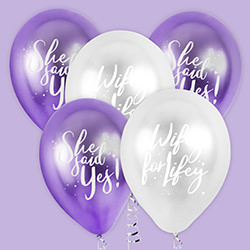 The balloons seen on a purple background.
