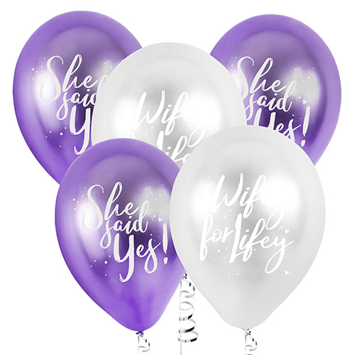 The five balloons against a white background.