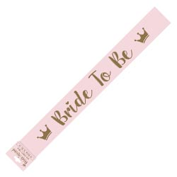 Pink sash with gold bride to be design.