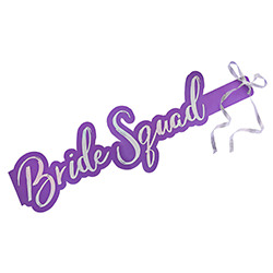 Bright purple Bride Squad sash.