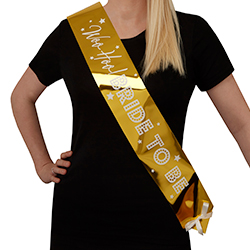Metallic gold Woo Hoo Hen Do sash.