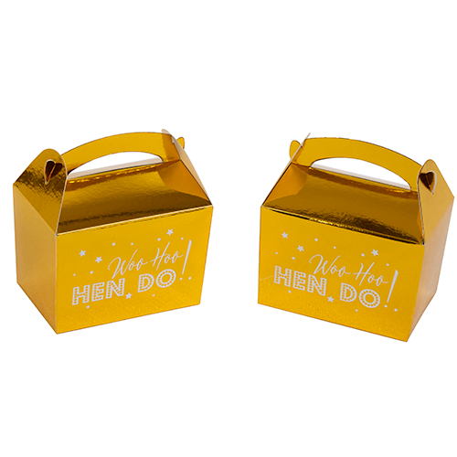 Metallic gold Whoo Hoo Hen Do favour boxes.