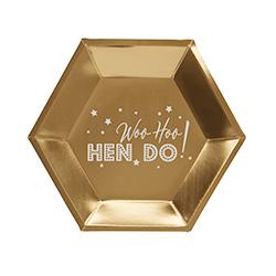 Woo Hoo Hen Do gold paper plates.