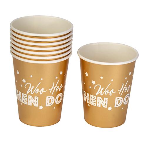 Woo Hoo Hen Do paper cups.
