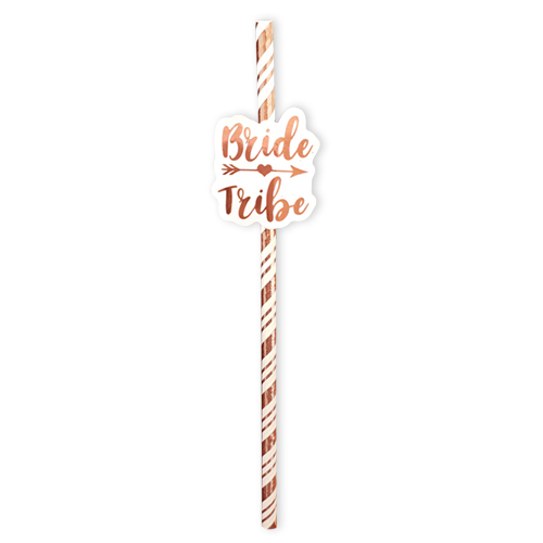 Rose gold bride tribe straw.