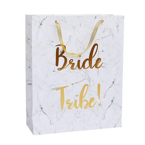 Marble effect gift bag with gold foil text and handle.