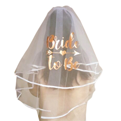 Long white veil with rose gold foil design,