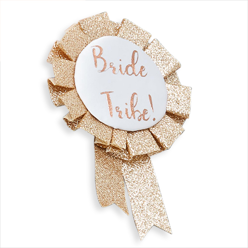 Gold glitter bride tribe rosette.