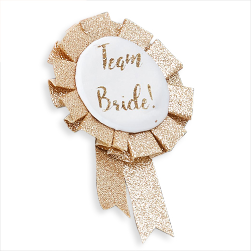 Golden glitter rosette with a team bride design.