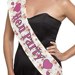 Floral, vintage hen party sash.