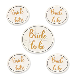 A set of five badges, one bride to be and four bride tribe.