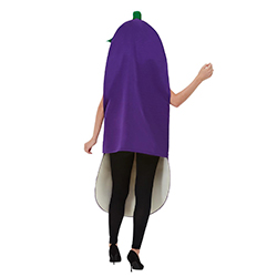 Aubergine costume with green top.