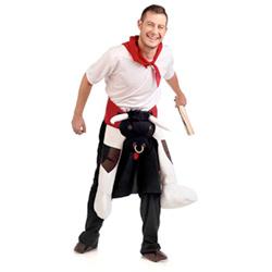 A man wearing the bull runner costume.