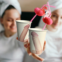 A picture of the cups being used by a group