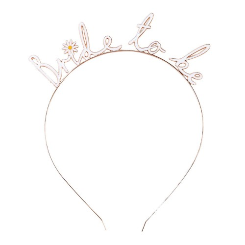 Metal bride to be headband with daisy design.