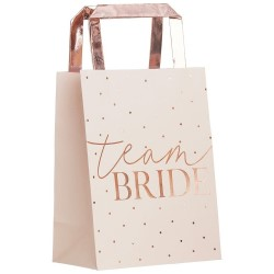 The team bride gift bags against a white background.