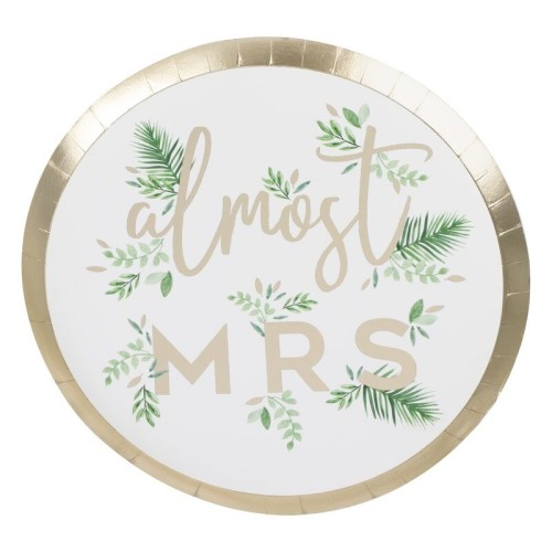 Almost Mrs plates with a gold edge.