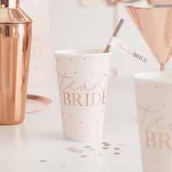 Team bride cup with rose gold text.