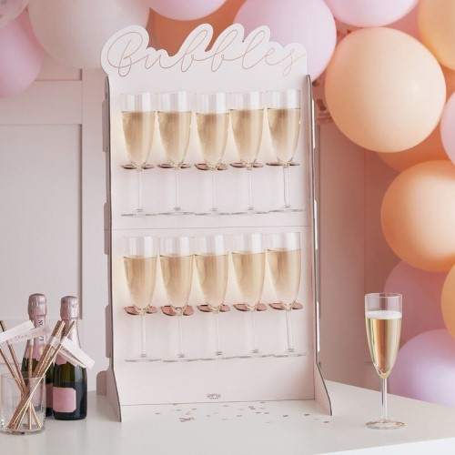 The drinks wall shown with balloons.