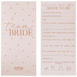 Rose gold team bride advice cards.