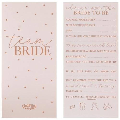 Rose gold team bride advice cards.