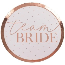 Pink plates with rose gold team bride design on a white background.