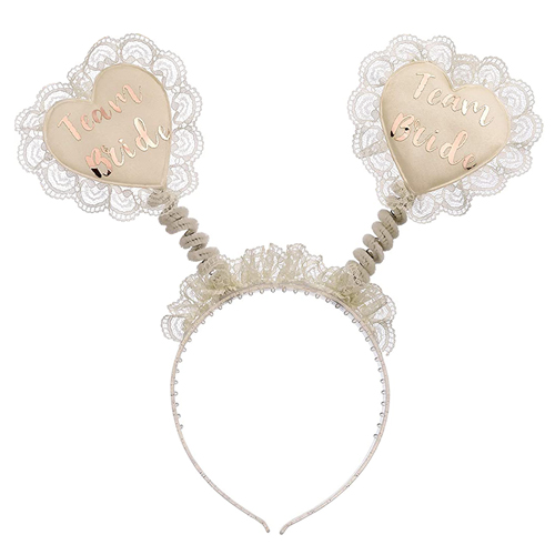 The team bride boppers with lace trim.