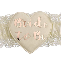 Close up of the bride to be rose gold text.