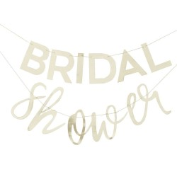 Gold bridal shower bunting.