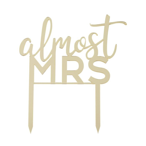 The almost Mrs sign against a white background.