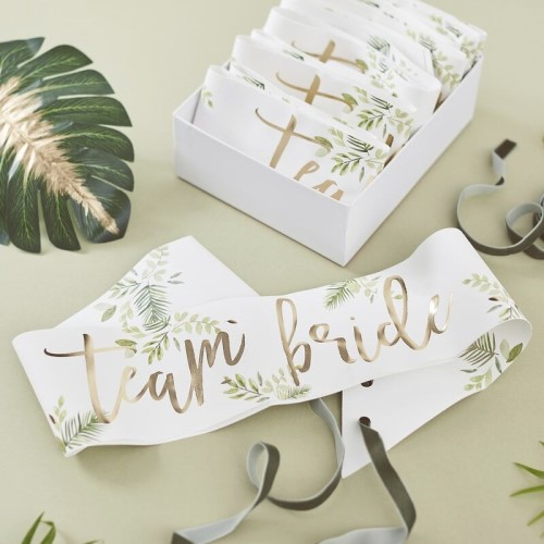 Pack of 6 team bride sashes with a gold, botanical theme.