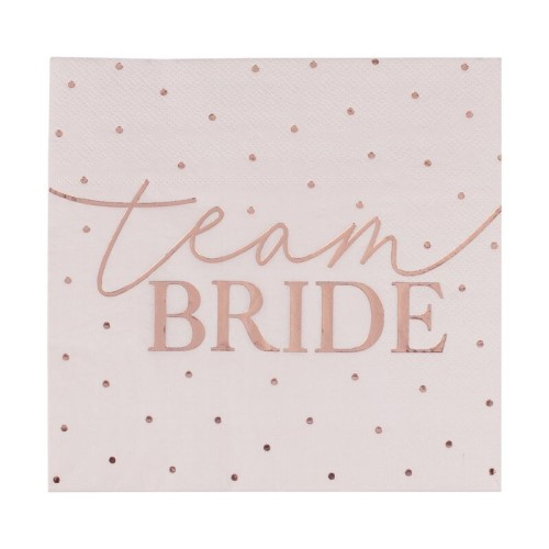 Spotty Team Bride napkins on a white background.