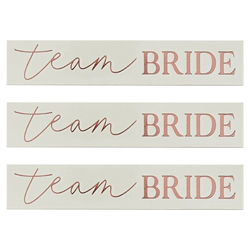 Team bride temporary rose gold tattoos on a white background.
