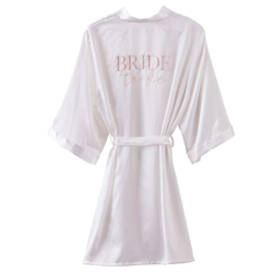 White dressing gown with Bride to be embroided on the back.