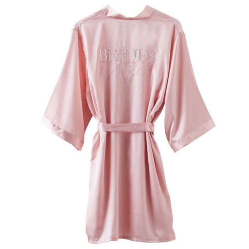 Pink Brides besties dressing gowns with embroidered writing on the back.