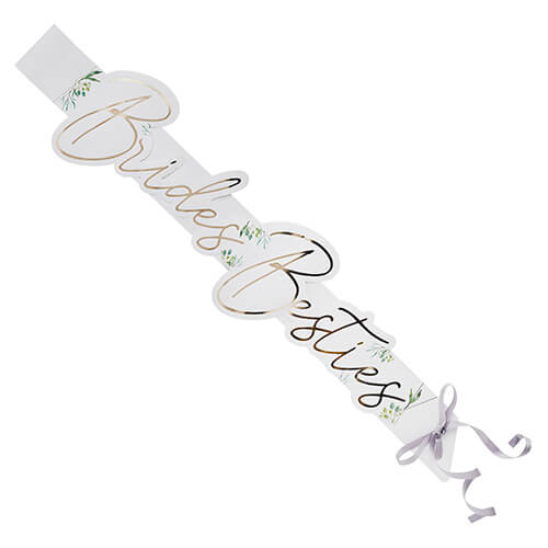 White and gold brides besties sash on a white background.