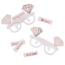 Diamond design glasses on white background.