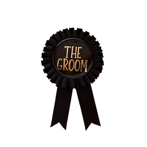 A black rosette badge with gold text on a white background.