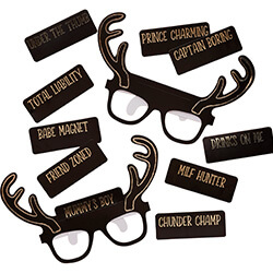 A pack of glasses with a selection of names to stick on.