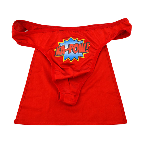 The bright red superhero thong against a white background.