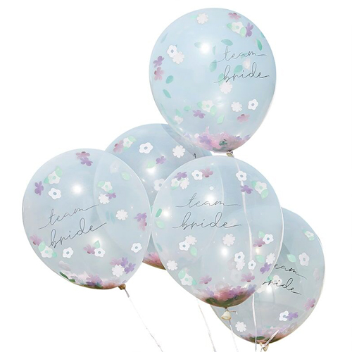 Floral confetti balloons against a white background.