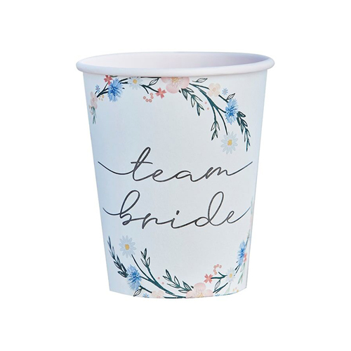 A floral team bride paper cup against a white background.