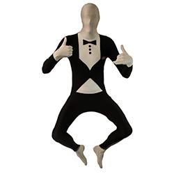 Tuxedo Morphsuit Jumping In Front Of White Background