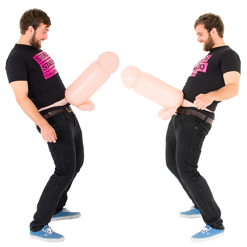 Inflatable Cock Fighting On White Background